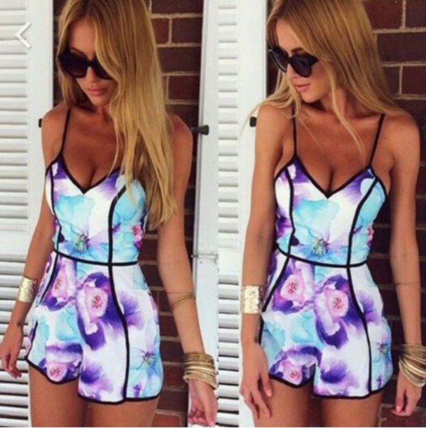 dress jumpsuit romper flowers pattern girl sweet romper found on insta gram fashion fours account floral romper purple blue cami romper jumpsuit colorful tight cute romper/dress teall cute pretty color/pattern white black flowers floral