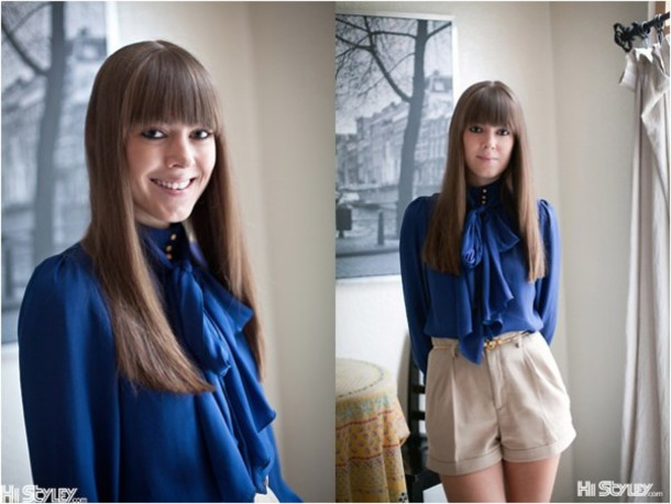 pussybow vintage blue blouse blouse