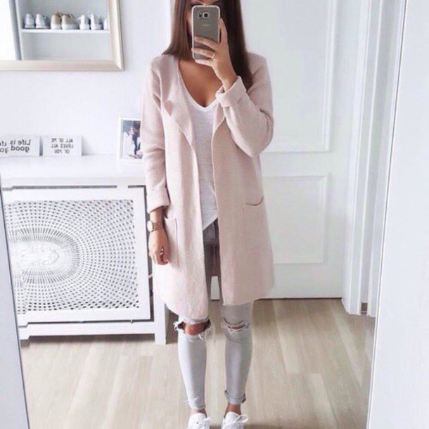 4aa599495ccc cardigan grey pink ripped jeans light pink shirt pink coat white adidas  jacket long jacket cute