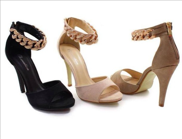 Shoes: heels, pumps, ankle strap, golden chain, gold, black, nude ...