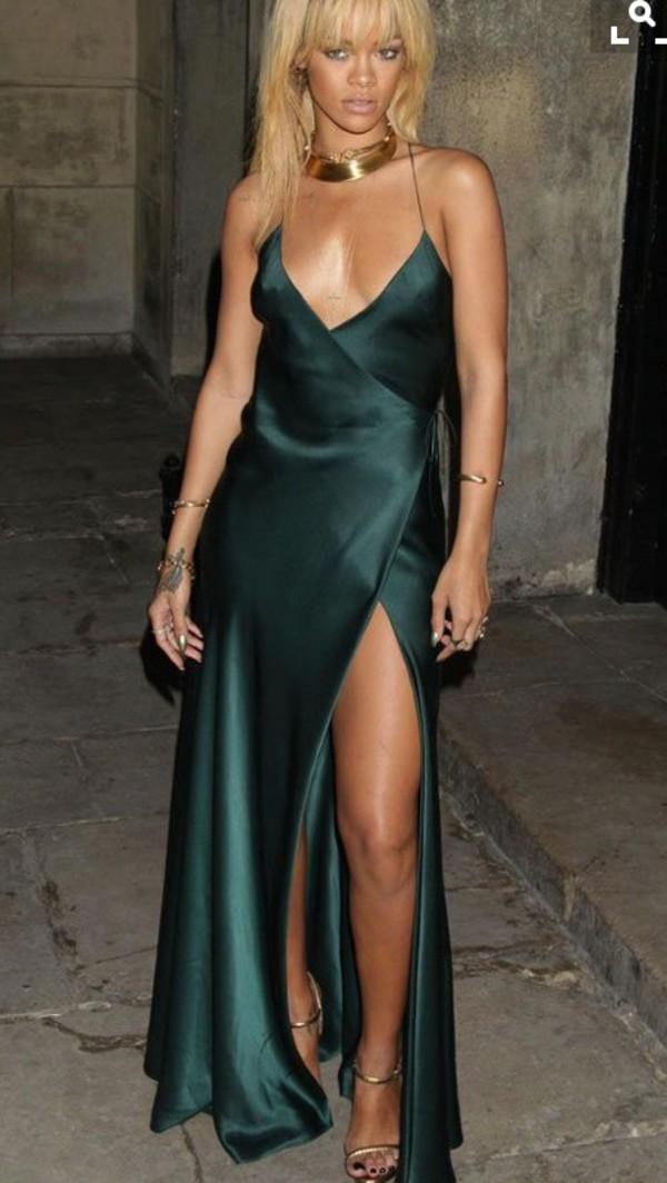 Dress Rihanna Silk Prom Maxi Green Maxi Dress Prom Dress