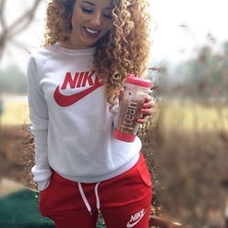 shirt jadah doll nike nike sweater nike sweatpants joggers top celebrity sportswear pants red pants hoodie white hoodie white top sweatpants nail polish jadah doll nails jadah doll hair red sweatpants