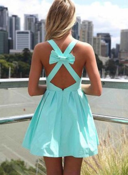 dress Bow Back Dress clothes bow prom blue dress