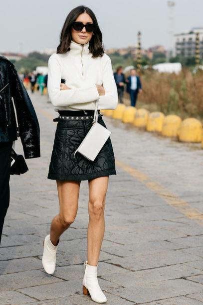 c25c13036b skirt, tumblr, boots, mid heel boots, thick heel, block heels, white ...