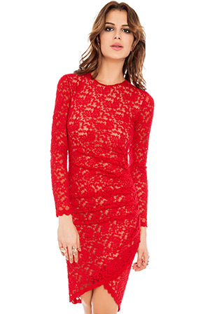 Red Lace Dress in the style of Kim Kardashian