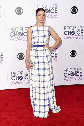 dress gown troian bellisario maxi dress red carpet clutch people's choice awards bag