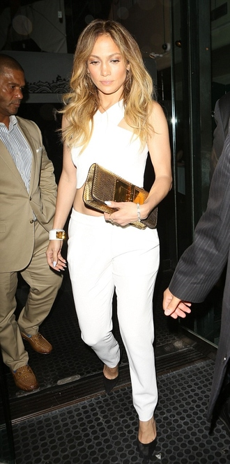 top jennifer lopez crop tops white pants jewels