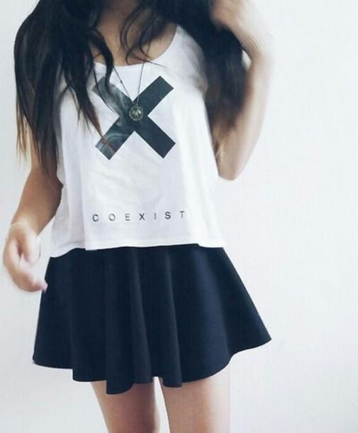 skirt black skirt white t-shirt t-shirt coexist black pleated skirt pleated skirt t-shirt shirt crop tops beautiful cross tumblr outfit wow white white t-shirt