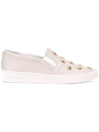 studded women sneakers floral leather nude cotton shoes
