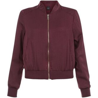 jacket bomber jacket red zip burgundy