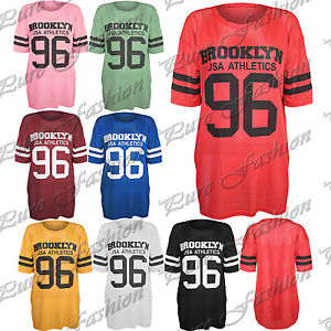 Womens oversize mesh baggy brooklyn usa 96 top ladies perforated varsity t shirt