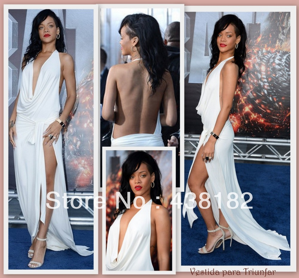 Deep V Neck Sexy A Line Off the shoulder Sleeveless Floor Length Chiffon White Rihanna Celebrity dresses new design 2014-in Celebrity-Inspired Dresses from Apparel & Accessories on Aliexpress.com