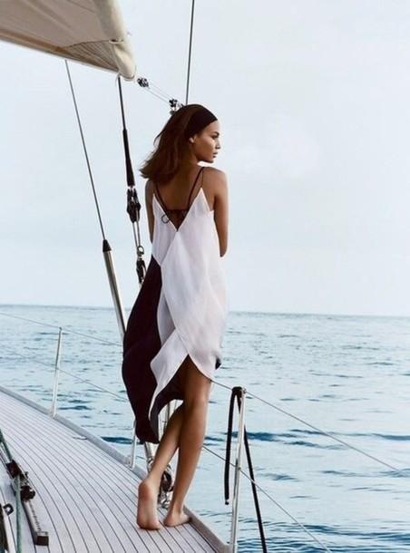 dress black and white beach dress yachting dress maxi dress monochrome dress summer dress black and white