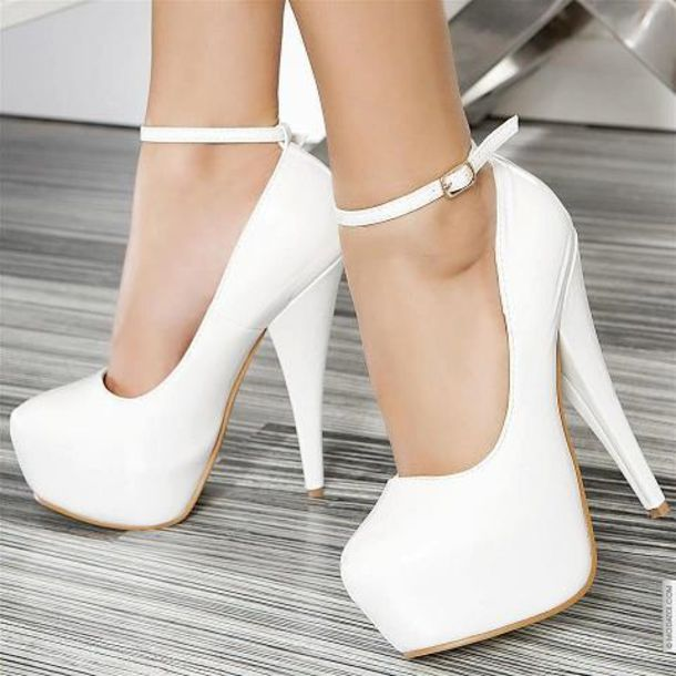 shoes high heels white white high heels strapped high