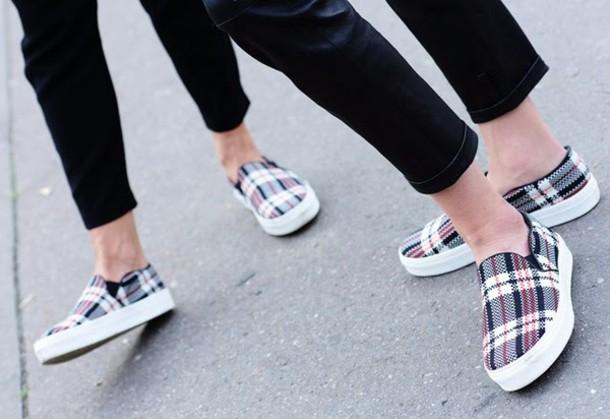 shoes, plaid, slip on shoes - Wheretoget