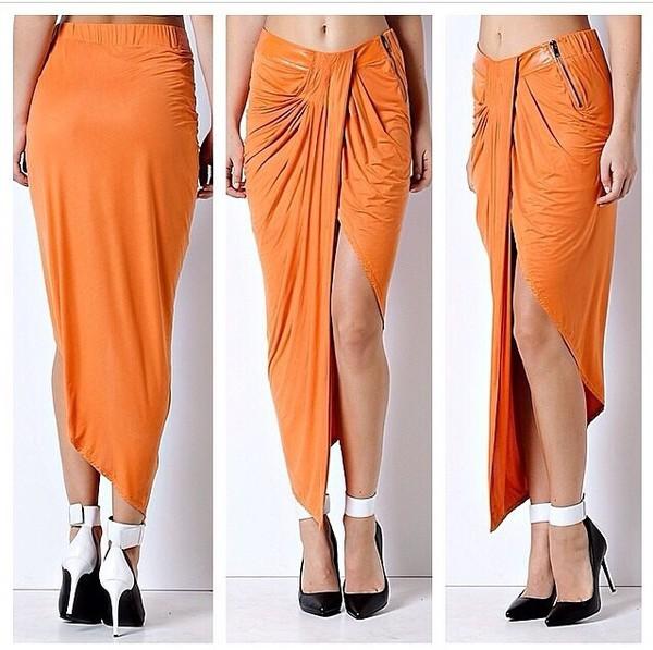skirt orange skirt black and white heels shoes