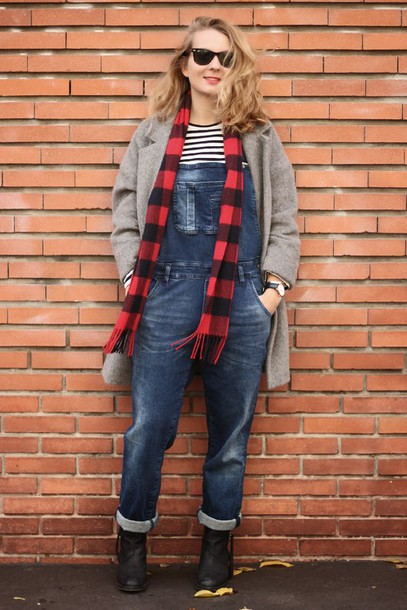 jane's sneak peak blogger jeans scarf jewels dungarees flannel grey coat