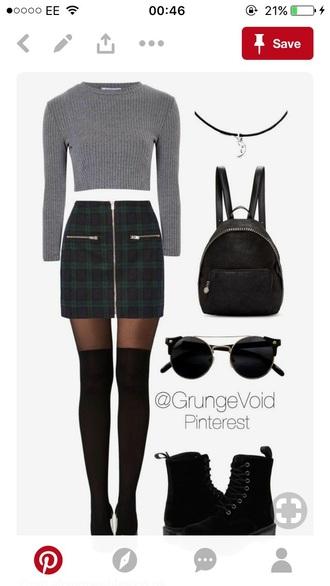 skirt black and green skirt checkered plaid zips uk size 10 short mini