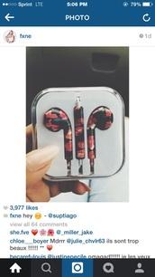 earphones,floral print headphones,floral,earbuds