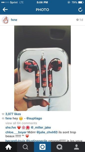earphones floral print headphones floral earbuds