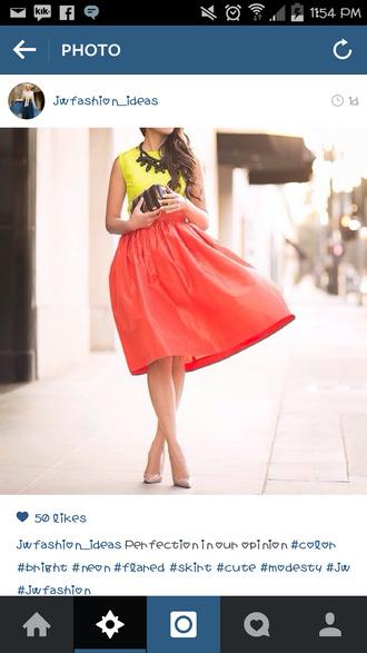 skirt orange skirt neon yellow top