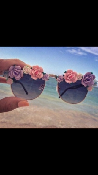 sunglasses glasses flowers floral cute tumblr hippie hippie glasses sun summer