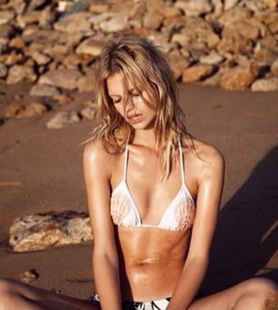swimwear bikini bikini top shell mermaid lovely girly wish