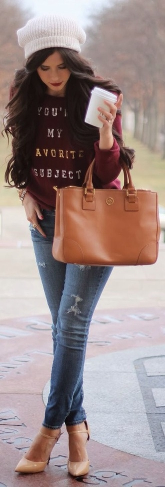 sweater burgundy sweater quote on it graphic tee shoes hat bag