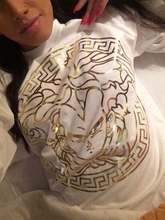 shirt versace dragon ball z sweater white gold vegeta t-shirt women tshirts medusa fajita white and gold sweatshirt fake¸ tumblr cartoon dragon ball