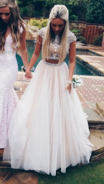 ec5b8580045 dress prom dress two piece dress set white white dress cute prom blonde  hair top style