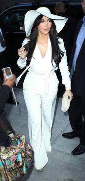 pants,white,jeans,denim,kim kardashian,blouse,plunge v neck,hat