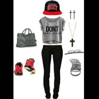 hat jordans purse cross earring cross necklace bracelets obey jeans crop tops t-shirt dress shorts shoes