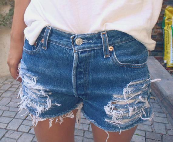 High waisted denim shorts half bleache