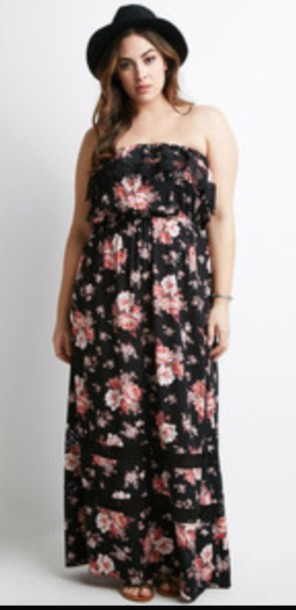 dress, floral, maxi dress, maxi, forever 21, plus size dress, floral ...