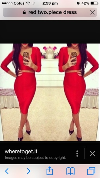 dress two-piece red dress