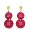 Bead-embellished raffia disc-drop earrings