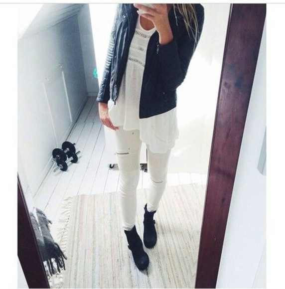 jeans casual shoes boots jacket fall outfits