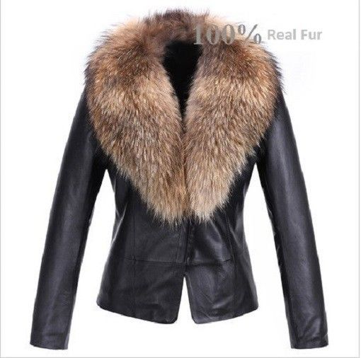 Ladies Washed 100 Soft Lamb Leather Raccoon Fur Collar Jacket | eBay