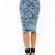 Women's High Waist Acid Mineral Wash Slit Midi Denim Jean Pencil Skirt S M L