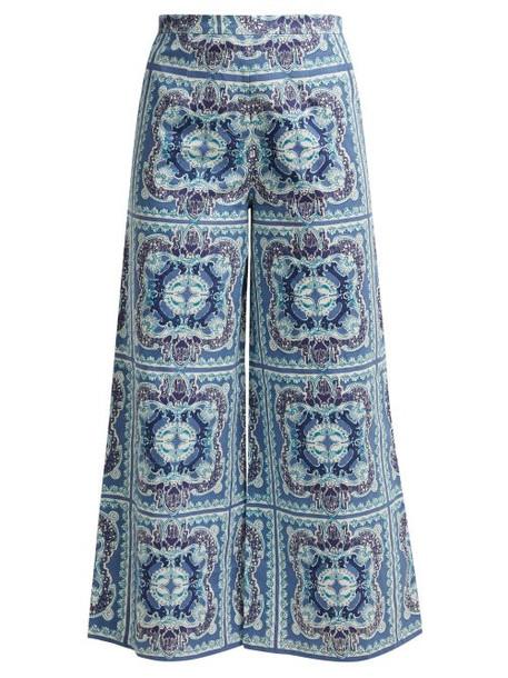 cotton print blue pants