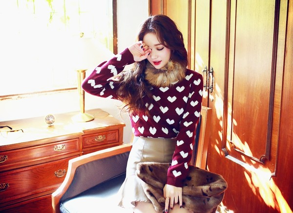 sweater heart polka dots knit knitwear pull burgundy vintage warm chic
