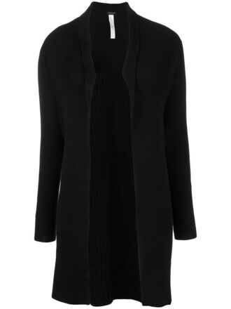 cardigan open women black wool sweater