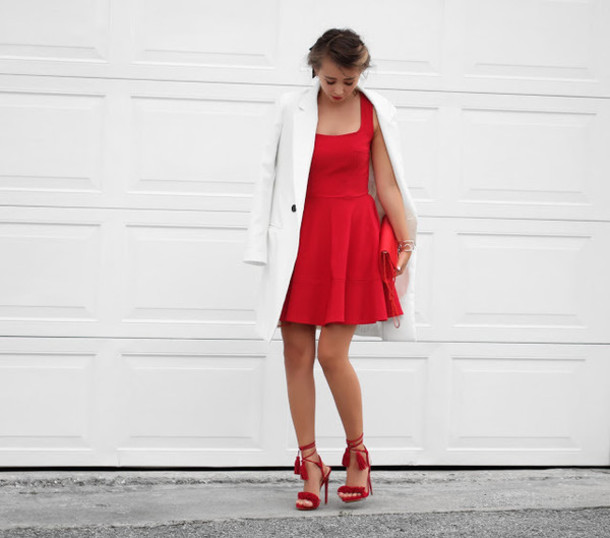white coat, high heel sandals - Wheretoget