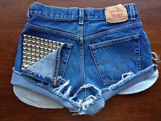 shorts short high waisted studs denim