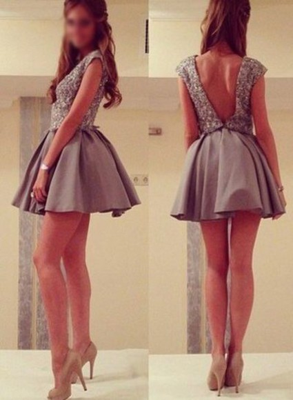 gray grey dress sexy dress short dress gray dress diamonds style