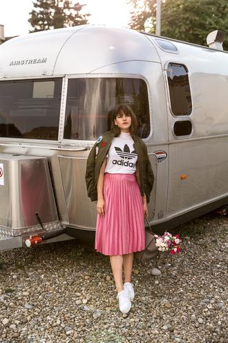 the fashion fraction blogger pink skirt pleated skirt midi skirt adidas adidas originals khaki bomber jacket back to school outfit idea cute outfits white sneakers bomber jacket fall outfits