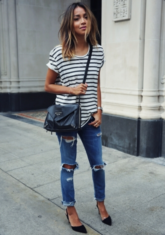 sincerely jules blogger striped top ripped jeans black leather bag pointed toe t-shirt