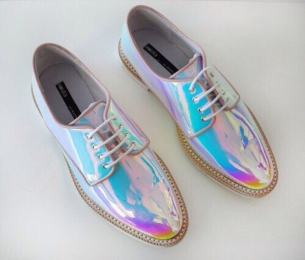 shoes shiny cute shoes style trendy holographic metallic shoes