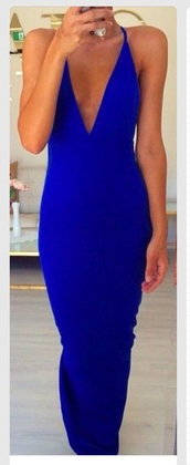 dress,blue dress,plunge neckline,prom dress,prom,colbalt,pretty,sexy,v neck,cocktail,sexy dress,royal blue dress,royal blue,long dress,long prom dress,long,gown,blue gown,prom gown,vneck dress,thin strap,clive,clivage,hot,cocktail dress,blue cocktail dress,blue cocktial dresses