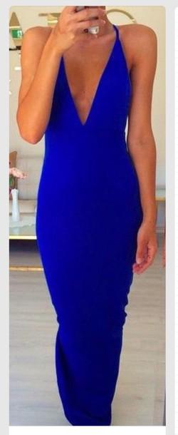dress blue dress plunge neckline prom dress prom colbalt pretty sexy